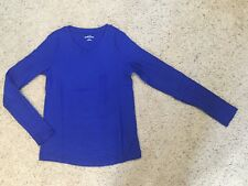 EDDIE BAUER womens long sleeve shirt PILOT BLUE v-neck ~ X-LARGE
