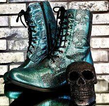 💀 SKULL COMBAT BOOTS Size 9 TURQUOISE Metallic Gothic Romance Horror Halloween