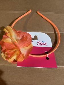 Justice Flower Hawaii Orange Bow Headband New