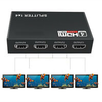1 in 4 out Full HD HDMI Splitter 1X4 4 Port Hub Repeater Amplifier v1.4 3D 1080p