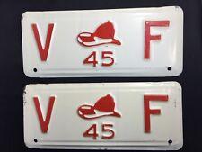 1945 Volunteer Fire Department Vintage License Plates RARE