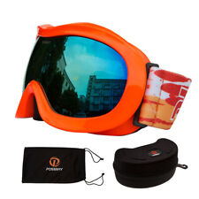 Sking Ski Goggles Glasses Double lens Bright Orange Frame Gray Orangewith Case