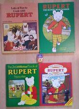 VINTAGE JOB LOT OF 4 VARIOUS RUPERT BEAR HARDBACK BOOKS - INC KIDS COOK BOOK