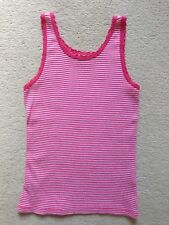 Girls Pink And White Striped Cotton Vest Top (age 6-7)