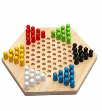 Traditional Hexagon Wooden Chinese Checkers Family Game Set