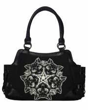 Banned Apparel Kitty Cat Punk Pentagram Moon Handbag Black