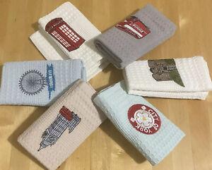 Ebmroidered Kitchen Tea Waffle Pattern Cotton Towel England London York Souvenir