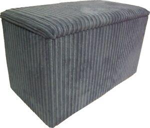 Ottoman / Toy Box / Hide Away Storage Solution - Grey Jumbo Cord