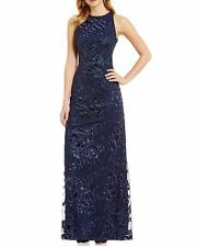 NWT Badgley Mischka Evening Gown 8 Navy SEQUIN LACE ILLUSION MOTHER BRIDE Summer