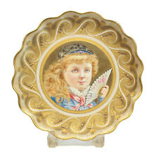 Wedgwood Hand Painted Porcelain Cabinet Plate, circa 1880. Girl with a Fan