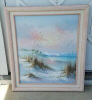Oil on Canvas Framed Painting B. Thompson Seascape Ocean Beach 29 x 25 Waves