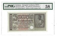 58 PMG 20 Reichsmark 1940-45 Germany Occupied Territories Greece Banknote 139