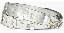 Rebecca Minkoff Handbag Guitar Floral Applique Shoulder Strap Silver Met. - NWT