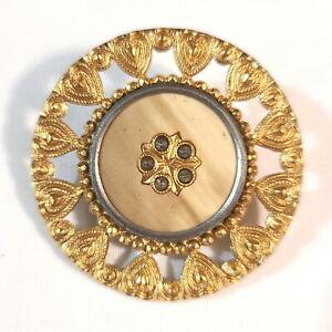 "Antique 1-1/2"" Victorian Gold Gilded Lacy Button Celluloid Center Paste Stones"
