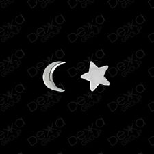 925 Sterling Silver Star & Moon Crescent Stud Earrings Girls Children Women Men