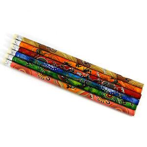 6 Australia Souvenir Grey Lead Pencil Kangaroo Indigenous Aboriginal Art Variety