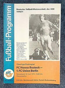 Orig. Programm 70/71 FC Hansa Rostock 1.FC Union Berlin DDR Oberliga Fußball DFV