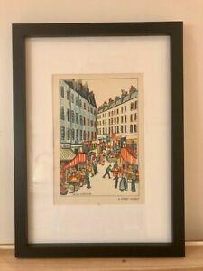 A Street Market - Original Vintage Print, Framed - Helen Carstairs 1937
