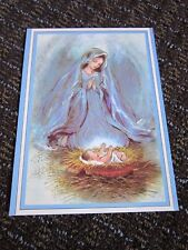 Christmas Card Blue Madonna & Child Mary Jesus Brick Mill Studio Unused Biblical