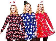 para mujer Navidad Vestido Santa Muñeco De Nieve Reno Disfraz S-L