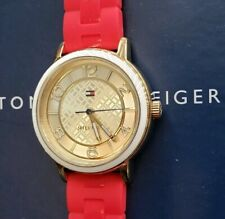 Tommy Hilfiger 1781668 Watch With 36mm Golden Face & Red Silicone Band.
