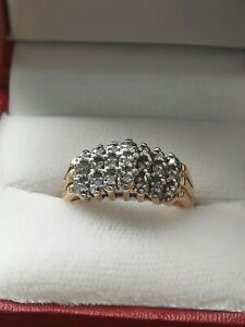 10Kt Yellow Gold Cluster Ring w/ 21 Natural Diamonds Size 7 • 4 Grams