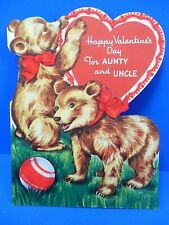 """Valentine Card Vintage Unused """"Happy Valentine's Day Aunty And Uncle"""" Free Ship"""