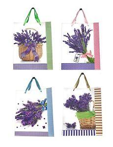 Lagiwa® Lot de 4 Sacs Papier Cadeaux LAVANDE ASSORTIS MM 32X26X10cm
