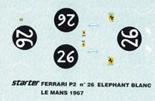 "decal 1/43  FERRARI P2 ""ELEFANTINO BIANCO 24h LM 1967 STARTER DE006"
