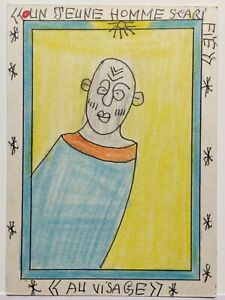 FREDERIC BRULY BOUABRE SIGNED ORIGINAL AFRICAN TRIBAL ART, A SCARIFIED YOUNG MAN