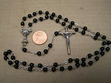 Rosary with Black Plastic Beads and Chalice Center Bead - Mexico