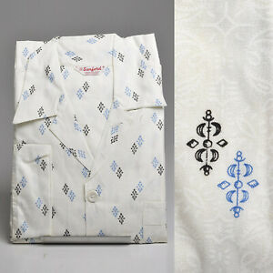 1950s Mens Pajamas Set Sanforized Cotton Blue Print PJs Rockabilly Lounge Wear