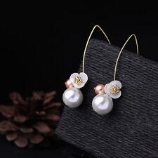 Boucles d`Oreilles Doré Long Fleur Nacre Perle Blanc Rose Fin Retro AA 15