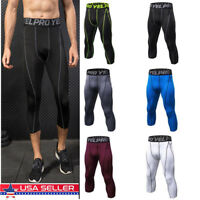 Mens Compression Capris Sports Gym Tights Running Basketball 3/4 Pants Tight fit