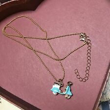 "21"" Gold Charm Necklace Moped Scooter Vespa Aqua Blue White sweet"
