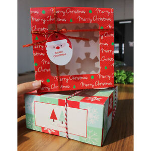 5pcs Christmas Cupcake Box 4-Cup Clear Window Muffin Packaging Container Supply