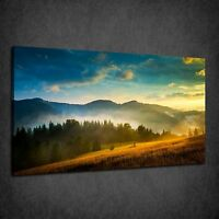 BEAUTIFUL MOUNTAINS LANDSCAPE MORNING FOG BOX CANVAS PRINT WALL ART PICTURE