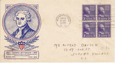 POSTAL HISTORY - FIRST DAY COVER FDC 1938 THOMAS JEFFERSON PRESIDENTIAL SERIES