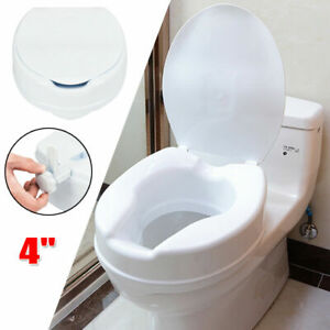 """High Quality 4"""" Height Elevated Toilet Seat Riser For Kids Elderly with Cover"""