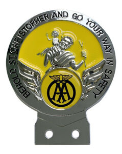 AA Yellow St Christopher Car Badge with Fixings