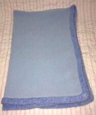 Baby Martex Soft Blue Knit Baby Blanket fuzzy blue nylon border