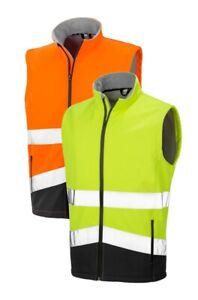 Result Safe-Guard Orange Ou Jaune Haut Visibilité Souple Coque Gilet Matelassé