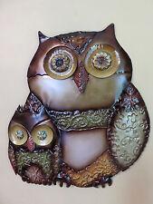 Owl Metal Plaque Garden Yard decor Mom Baby wall decor rustic 17.5x16 in. 3-D