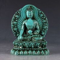 Collectible china Old Decorated Turquoise Carve Sakyamuni Medicine Buddha Statue