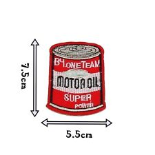 Iron on Patch Oil Can Motif Badge Applique Patches Car Motor Vehicle Bike P314