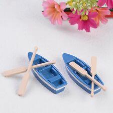 Lot 1Pcs Boat+2pcs Oar Doll House Miniatures Garden Decor DIY Craft Ornaments