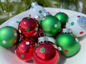 Grinch Green Mini Christmas Ornaments Balls Whimsical Decor Polka Dots 16 PC Set