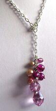 collier bijou rétro couleur argent pampille perle goutte facette violet 3524