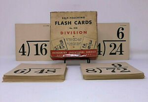 Vintage Kenworthy1940's Large 6x6 Division Flash Cards W/ Box #2138 Educational