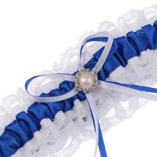 Giarrettiera da sposa in raso blu con accessori da sposa Bowknot in nastro